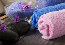 Spa stones. A spa stones with purple flowers Royalty Free Stock Photo
