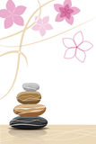 Spa stones and abstract flowers. Place for your text Royalty Free Stock Images