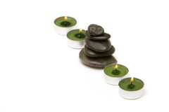 Spa stones ans candles Royalty Free Stock Image