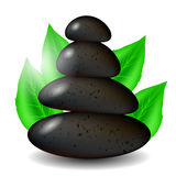 Spa Stones Background with Green Leaves Royalty Free Stock Image