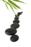 SPA Stones and Bamboo Foliage. Over White Royalty Free Stock Photos