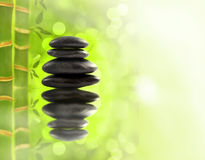 Spa stones in bamboo forest Stock Images