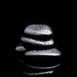 Spa Stones. black shiny zen stones Stock Photo