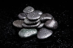 Spa Stones. black shiny zen stones Stock Photos