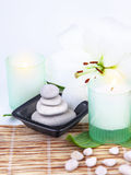 Spa stones and candle stock photography