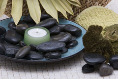 Spa stones and candle Royalty Free Stock Photography