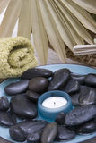 Spa stones and candle Stock Images
