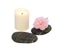 Spa stones with candle Royalty Free Stock Photos