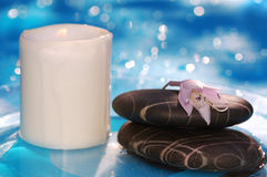 Spa stones with candle Royalty Free Stock Images