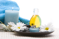 Spa stones and candles Royalty Free Stock Photos
