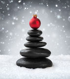 Spa stones - in christmas. With red ball stock image