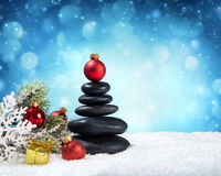 Spa stones - in christmas. With snow Royalty Free Stock Photo