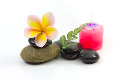 Spa stones and flower. Spa stones and Frangipani flower royalty free stock images