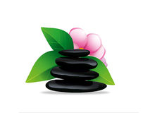 Spa stones with flower Royalty Free Stock Images