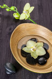 Spa stones and flowers  Orchids in a bowl of water Royalty Free Stock Photos