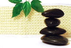 Spa stones with green leaf Stock Photo
