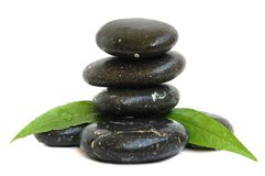 Spa stones and green leaves Stock Image