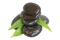 Spa stones and green leaves Royalty Free Stock Images