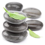 Spa stones with green leaves on a white. Royalty Free Stock Photo