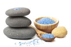 Spa stones and herbal salt Stock Photos
