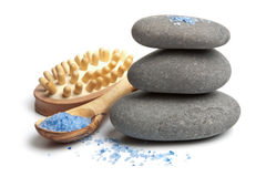 Spa stones and herbal salt isolated Stock Photos