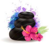 Spa stones with hibiscus Stock Image