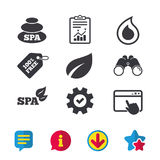 Spa stones icons. Water drop with leaf symbols. Royalty Free Stock Photo
