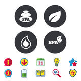 Spa stones icons. Water drop with leaf symbols. Royalty Free Stock Photography