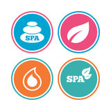 Spa stones icons. Water drop with leaf symbols. Royalty Free Stock Images
