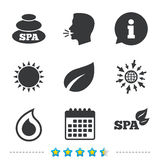 Spa stones icons. Water drop with leaf symbols. Natural tear sign. Information, go to web and calendar icons. Sun and loud speak symbol. Vector Stock Photography