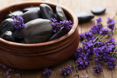 Spa stones and lavender Stock Images