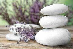 Spa stones with lavender flowers royalty free stock photography