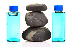 Spa stones and lotions Royalty Free Stock Photos