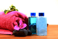 Spa stones and lotions Royalty Free Stock Photo