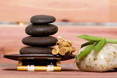 Spa stones and natural soap Royalty Free Stock Photos