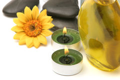 Spa stones, oils and candles Stock Image