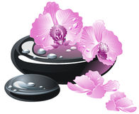 Spa stones with orchid flower Stock Photo