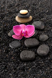 Spa stones and orchid flowers Royalty Free Stock Image