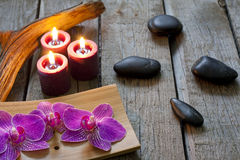 Spa stones orchids and candle stock images