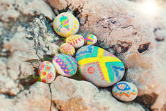 Spa. Stones with ornaments. Spa. Conceptual idea Royalty Free Stock Image