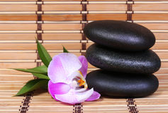 Spa Stones and Pink Orchid Flower with Green Leaves. On bamboo mat. Zen pebbles Stock Photography