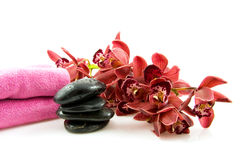 Spa stones with red orchid Royalty Free Stock Photo