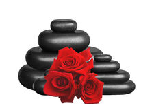 Spa stones and red roses isolated on white. Background Stock Images