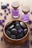 Spa stones salt and lavender Royalty Free Stock Photography