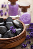 Spa stones salt and lavender Royalty Free Stock Photo