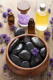 Spa stones salt and lavender oil Stock Images