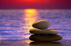 Spa stones at sunset Royalty Free Stock Image
