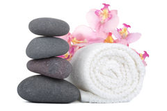 Spa stones and towel isolated Royalty Free Stock Photos
