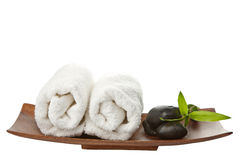Spa stones and towels isolated Royalty Free Stock Image