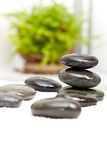 Spa stones on white towel and green fresh leaves Stock Photography